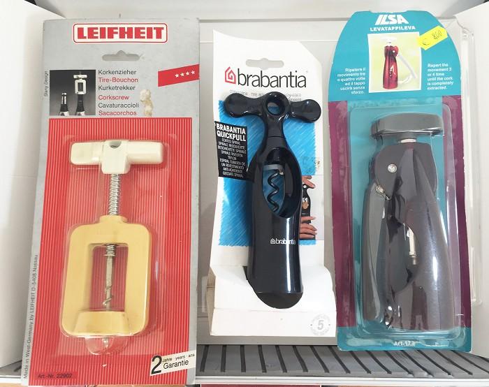 Three corkscrews in original packaging, Leifheit, Brabantia,
