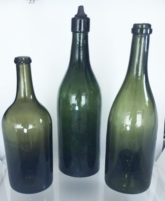3 19th century wine bottles