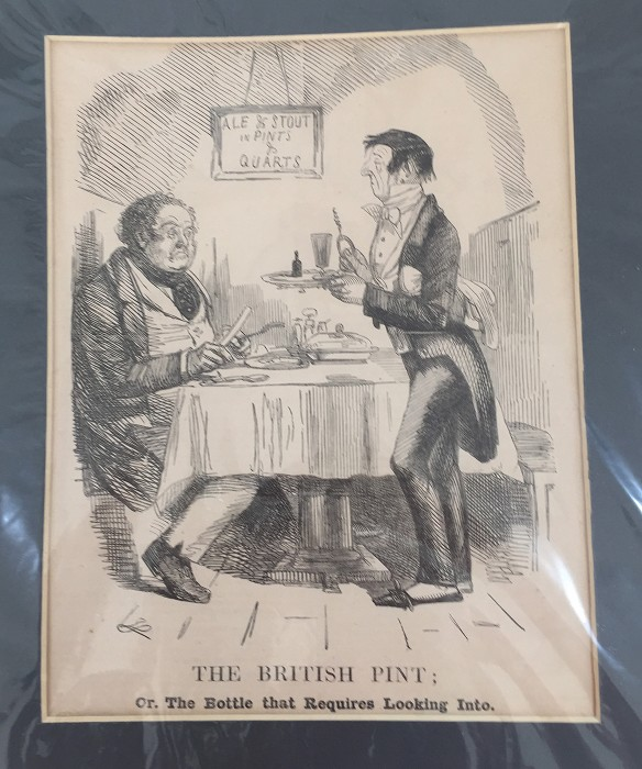 English print from ca 1880 showing butler with corkscrew