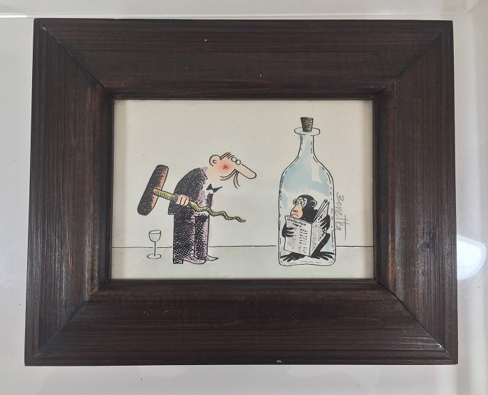 funny print with frame, size 13 x 10 cm without frame
