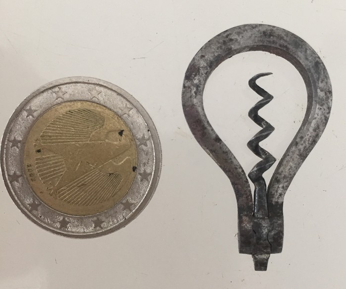a rare miniature corkscrew with flat bow for a chatelaine