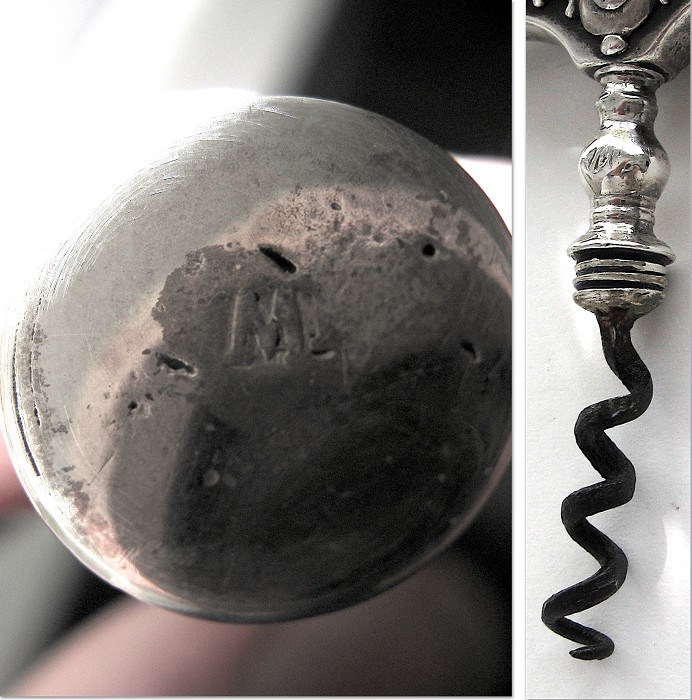 Dutch 18th century silver corkscrew