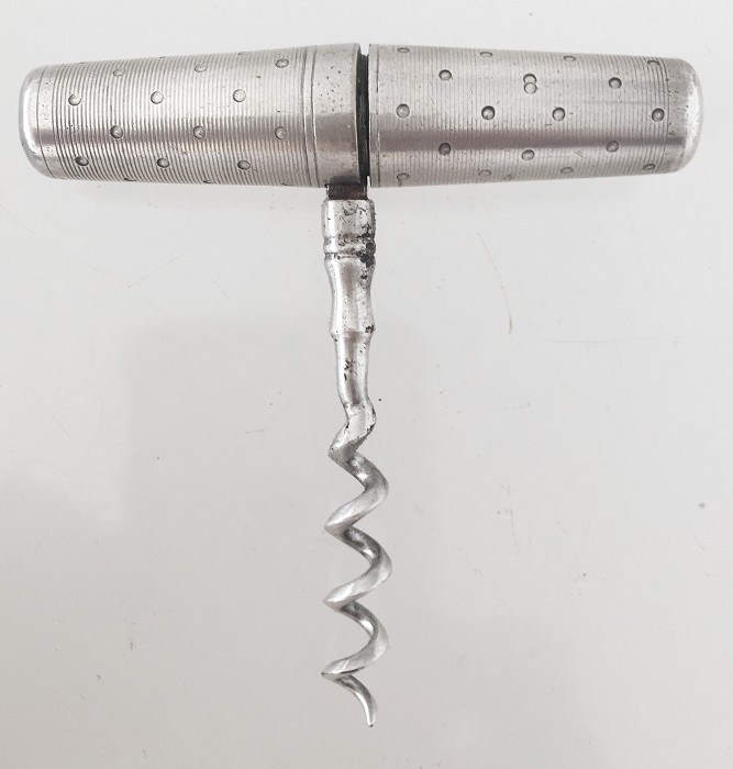 Silver, etched roundlet, ca 1900, unmarked
