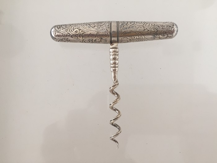 Dutch, silver, etched roundlet, ca 1900, unmarked