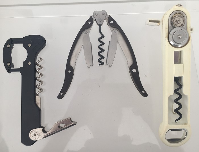 3 corkscrews, typical double lever, can opener combination